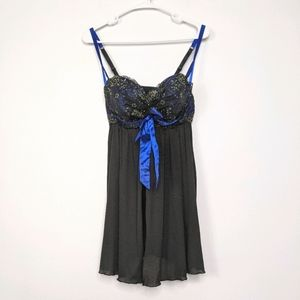 Cacique Black Babydoll with Bow 18/20